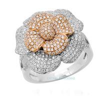 Anel Flor De Diamantes Em Ouro Branco E Rosê 18 Quilates