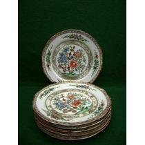 Porcelana 6 Pratos S/m Antigo Pintado A Mão