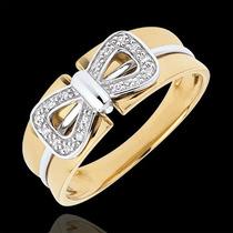 Anel Com Laço Bicolor Em Ouro 18k Com Diamantes