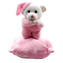 Ursinho Que Reza Pai Nosso Com Pijama E Almofada Rosa