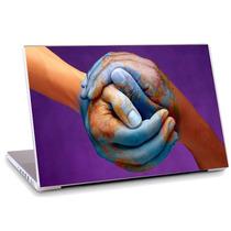 Skin Adesivo Notebook Arte Digital Mão Mundo Mapa Skdi2302