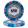 Lote C/ 25 Fichas Azuis $50 - Pôquer Poker - 14g Clay