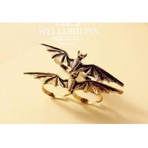 Anel Duplo Morcego -bronze E Prata Regulável-frete Gratis