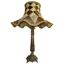 Abajur Com Pé De Bronze E Cúpula De Tecido - Cod: 30846