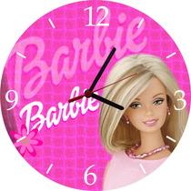 Relogio De Parede Infantil Em Vinil Barbie Personalizado