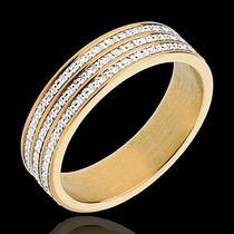 Linda Meia Aliança Aparador Com Diamantes Em Ouro 18 Quilate