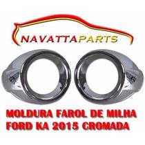 Par De Moldura Cromada Para Farol Milha Neblina Ford Ka 2015