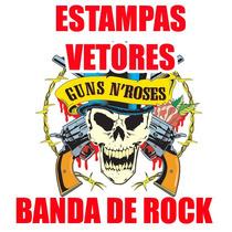 Vetor Bandas De Rock Estampa Silk Screen Vetores Adesivos