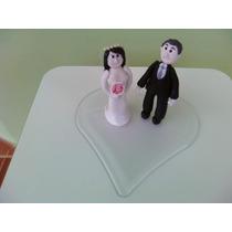 Topo De Bolo Casamento Coração Em Acrílico
