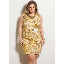 Vestido Tubinho Mix Animal Print Plus Size