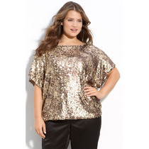 Blusa Bata De Paetês Plus Size - Tamanhos Grandes G, Gg, Exg