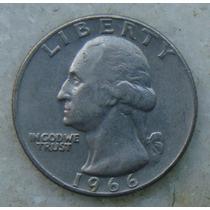 256 Eua - Quarter Dollar 1966 Sem Letra - Serrilha 24mm