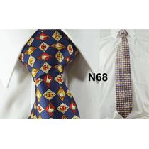 Gravata Vintage Seda Pura Azul Escuro Super Exclusiva - N68