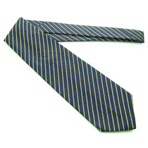 Gravata Azul Marinho Com Listras Douradas Italiana Fg! B0392
