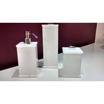 Kit Potes Para Banheiro 3pçs Em Acrilico