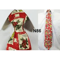 Gravata Vintage De Seda Pura Cor Vermelha Estampada - N86