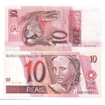 Cédula De 10,00 Reais - Letras Fc - Série 1.609 - Fe -a 1ª