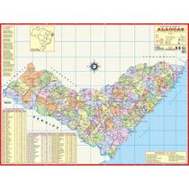 Mapa Geo Político Rodoviário Estado De Alagoas 1,20 X 0,90m