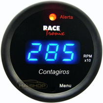 Contagiros Rpm Digital Luz Led Azul Fundo Preto 52mm Tuning