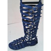 Sandalia Gladiadora Athena Em Jeans 35 Cm Do 33 Ao 43 =