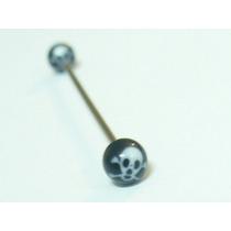 Piercing Transversal Caveira, Aço Cirurgico 316l