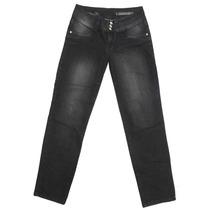 Calça Jeans Ricci Woman Com Bolsos Bordados Cós Largo Botoes