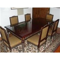 Mesa De Mogno Antiga Luiz Xv Com 6 Cadeiras