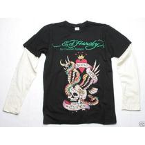 Ed Hardy Camiseta Manga Longa Original Tamanho P Masculina