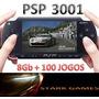 Psp Slim 3001 Destravado+cartão 8gb+100 Jogos+case+cabo Usb