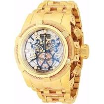 Relógio Invicta 13757 Bolt Zeus Gold/azul Skeleton Com Caixa
