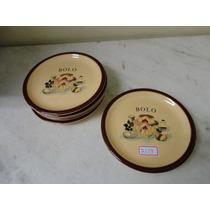 #7359# Jogo 6 Pratinhos Porcelana Sobremesa, Bolo!!!