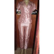Terninho Calça E Casaco Furta Cor Rosa Seco Veste 42