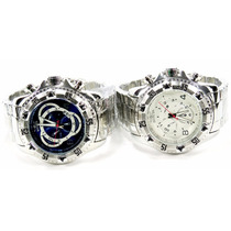 Relógio Masculino Reserve Série Prata- Azul Branco Barato D+