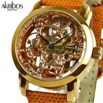 Akribos Xxiv Ladies Automatic - Gold Esqueleto- Skeleton