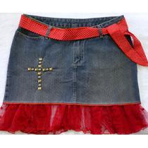 Saia Jeans 44 Com Renda Vermelha E Faixa Tecido Frete Grátis