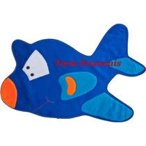 Promoção Tapete Avião Azul Royal 95cmx55cm Em Pelúcia