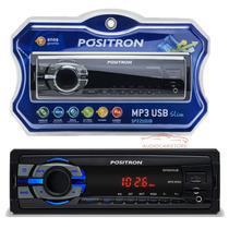 Rádio De Carro Positron Usb/ Sd Card/ Mp3/ Wma/ Aux