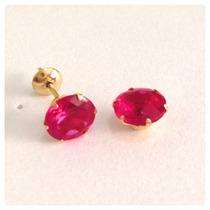 Brincos Calice 6mm Pedra Vermelho Rubi Joia Ouro 18k Garanti