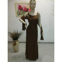 Vestido De Madrinha Em Crepe Georgette Marrom M104