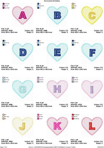 b1be5c6c5ec7a Coleção De Bordados Alfabeto Coração Renda. R  12.99