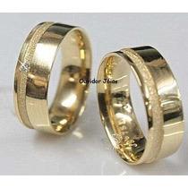 Par Alianças 8 Grs Ouro18k/ 750 Diamantes Frete Nota Fiscal