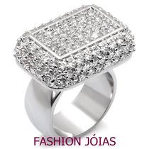 Anel Fashion Em Prata Cravejado Com Zirconias - Luxo
