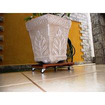 Suporte Com Rodizio. P/ Vaso, Cachepô, Botijão. Madeira