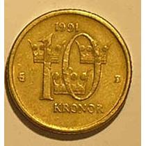 Suécia - Moeda De 10 Corôas De 1.991.