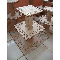 Torre Doces Baleiro Cupcake Sousplast Quadrado Provençal Mdf