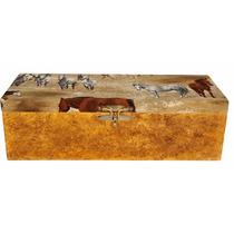Caixa Mdf Decoração Tecido Porta-vinho Cavalos No Campo