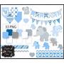 Kit Scrapbook Digital - Elefante Azul E Cinza - Chá De Bebê