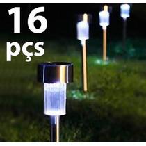 Luminária Solar De Jardim Em Inox / 16 Peças + Frete Grátis