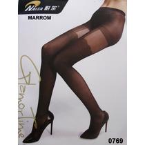 Meia Calça C/falsa Cinta Liga Fashion_sexy_marrom _t-único