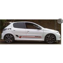 Faixas Laterais Peugeot 206 / 207 Sport + Logo Adesivo Carro